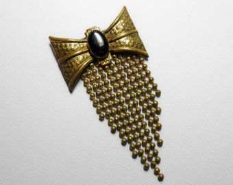 Early 1900s Ball Chain Fringe Bow Brooch