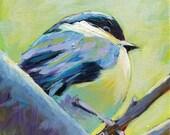 "RESERVED for Kristen-  Baby Chickadee (Original Painting of a Chickadee 6"" x 6"")"