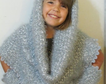 """GREAT GIFT!!!"""" womans, girl, teen, infinity scarf, shoulder wrap,hood,& wrist warmer set hand knit/made. So many things you can do with item"""