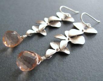 Orchid Jewelry, Flower Earrings, Pink Teardrop Earrings, Gemstone Bridal Earrings in Silver - TRIPLE ORCHID