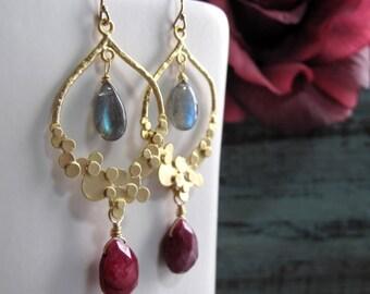 Ruby Labradorite Earrings, Gold Dangle Earrings, Teardrop Gemstone Earrings - ANNALISE
