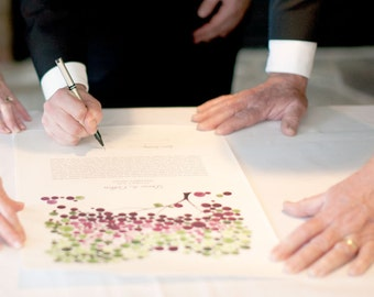 Ketubah Signing Custom Ketubah Tree of Life art print - Wedding Certificate Signing - Happy couple signing Ketubah art by OnceUponaPaper