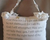 Promise Pillow, Graphic Pillow, Hanging Pillow, Scrunchy Ribbon, Isaiah 41:10