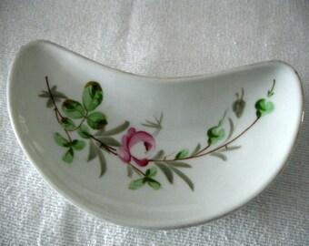 Vintage China Bone Dish - China Plate - PInk Flowers - Shabby Cottage - Set of 2