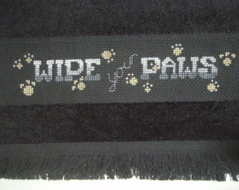 Cross Stitch Needlecraft Guest Towel Kitty Cat Paws Completed