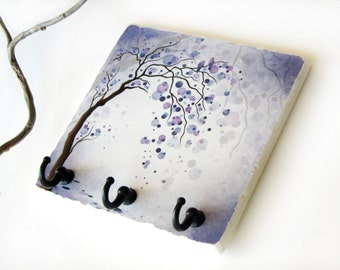 Purple Decor Tree Art Key Rack,  Colorful Circle Key Holder, Key Hook Hanger, Love Birds, Home Wall Organizer (10)