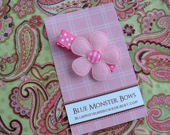 ONE DOLLAR CLIP Pink Flower with Hot Pink Gingham Center Alligator Hair Clip No Slip