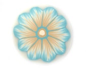Polymer Clay Cane Millefiori Flower in Sky Blue and Cream Flames