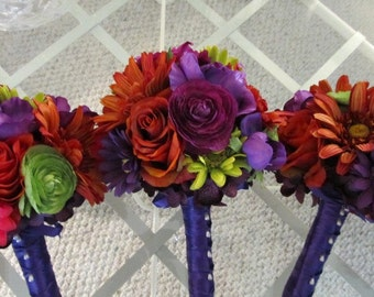 Silk wedding bridesmaides bouquet in fall purple, set of three, orange and green gerbera daisies, ranunculus and hydrangeas