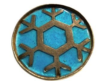 Aqua Blue Enamel on Sterling Silver Native American Brooch. Signed by Artist. Vintage Circa 1970s.