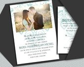 Blue Flourish with photo - a printable wedding invitation