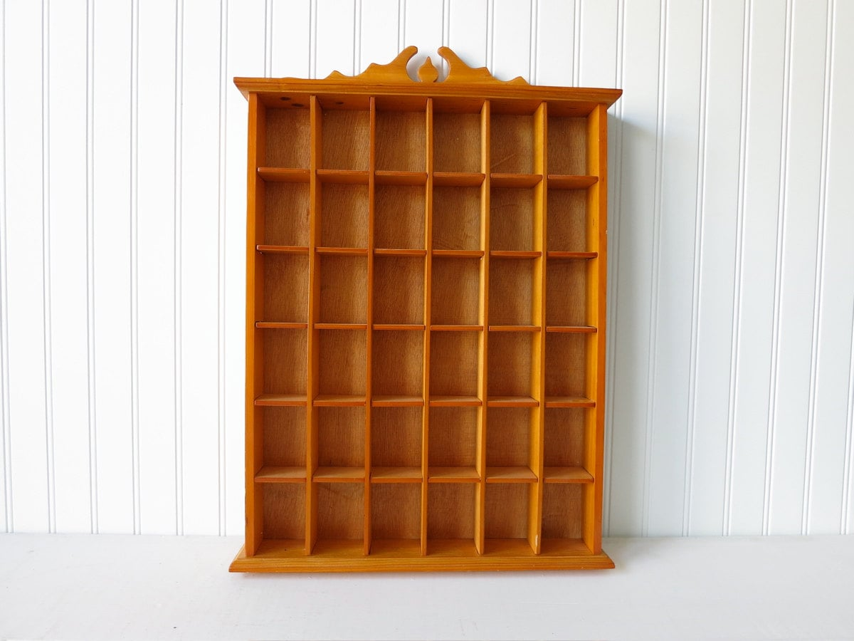 vintage wooden curio cubby shelf wall hanging. Black Bedroom Furniture Sets. Home Design Ideas