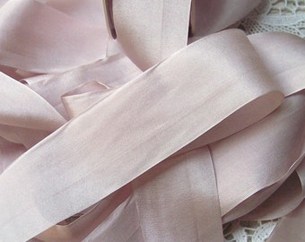 Pure Silk Ribbon Blush/Bisque Color 1 1/2 inch  36mm wide 5 yards
