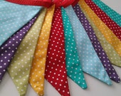 RAINBOW fabric bunting - BRIGHT and colourful- Perfect for parties, childrens bedrooms and garden parties
