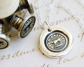 Ever Faithful Dog Victorian Wax Seal Necklace - Fine Silver, Sterling Silver
