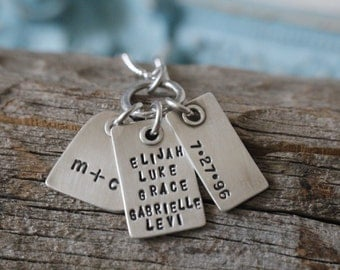 Personalized sterling silver hand stamped jewelry riveted charm family and kids names necklace