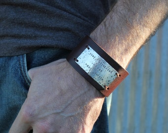 Mens rustic leather cuff, personalized gift for dad, personalized leather cuff, guy gift, cool dad bracelet, kids name cuff, custom text