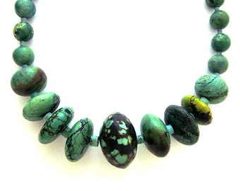 Genuine Turquoise Necklace Beaded Natural Turquoise Southwest Jewelry