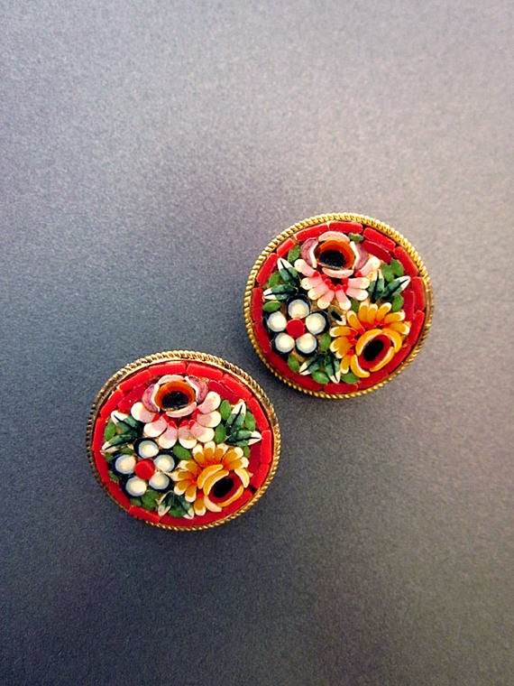 Vintage Micro Mosaic Earrings Red Clip On