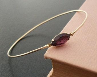 Purple Rhinestone Bracelet Bangle, Madelina, Gold Purple Rhinestone Bangle, Purple Stone Bracelet, Purple Stone Jewelry, Deep Purple Jewelry