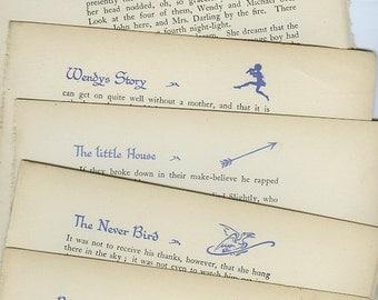 5 Random Vintage Decorated Text Pages Peter Pan Print 1931, Barrie Fairies Peter Wendy Captain Hook Never Bird Mermaid Lagoon Pirate