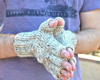 Mens gloves winter gloves gift for him knit gloves oatmeal winter holidays Christmas
