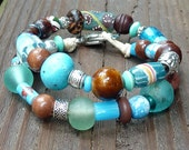 Double Wrap Turquoise Blue Mixed Media Bracelet - Blue Glass Beads, Blue Ceramic Beads, Wood, Hemp Bracelet