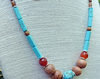 Long Turquoise Necklace - Turquoise Beads, Red Agate Beads, Wood Beads
