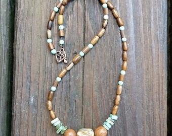 Beaded Necklace - Handmade Green Ceramic Bead, Green Turquoise Beads, Wood Beads