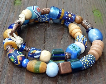 Double Wrap Blue Mixed Media Bracelet - Blue Glass Beads, Blue Ceramic Beads, Wood Beads, Hemp Bracelet