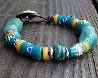 Teal Recycled Glass Bracelet - Teal Recycled Glass Krobo Beads, Brown Leather Bracelet