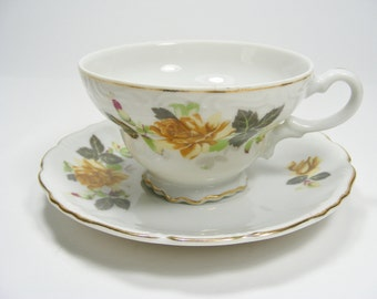 Yellow Rose Tea Cup and Saucer