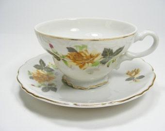 Yellow Rose Tea Cup and Saucer