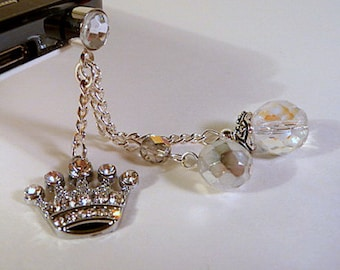 Cell phone dust plug, cell charm, dangle, crown, princess, crystals, bling, iphone, android