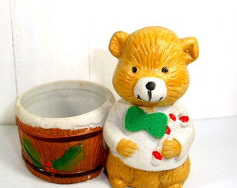 Vintage Holiday Bear Candle Holder, Tea Light Holder, Candle Accessory, Christmas Decor  (716-13)