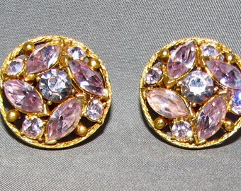 Vintage Pale Amethyst Rhinestone Cluster Earrings 6236 Free Shipping