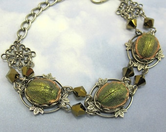 Vintage Scarab Bracelet Rare 1920s Egyptian Revival Glass Stones in Art Deco Antique Silver Filagree Setting