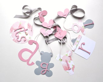 Pink and grey baby shower decorations baby it's a girl banner by ParkersPrints on Etsy