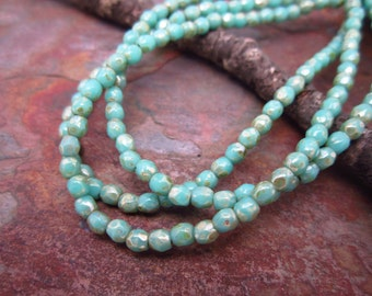 Turquoise Picasso Faceted Firpolished 3mm Beads