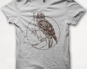 Womens Tshirt, Redtailed Hawk, Bird Shirt, Screenprint, Graphic Tee - Silver