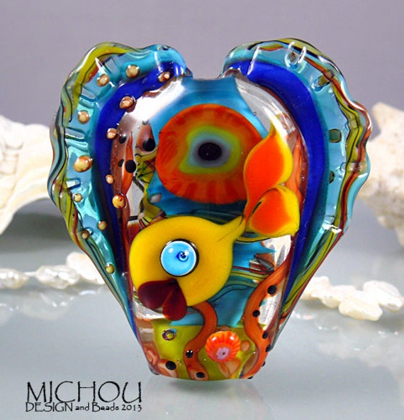 Fishworld art glass focal bead by michou p anderson for Anderson art glass