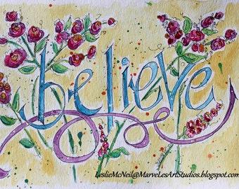 MarveLes Original  BELIEVE Watercolor Painting Pink Yellow Daisies Ribbon black lettering