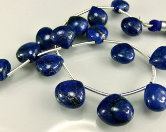 Lapis Briolettes Smooth AAA Lapis Heart Shaped Gemstone Beads 10-12mm