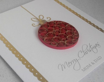 Quilled handmade Christmas card, paper quilling bauble, ornament, personalized