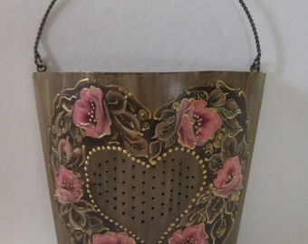 Tin Hand Painted Wall Container, MontanaRosePainter, Unique Punched Heart, Gorgeous Rose Colored Roses