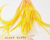 10 bundles - 25-30pcs - GOLDEN YELLOW - Goose Biots on Wire - could be curled - premium millinery supply, fishing supply, fly tying
