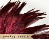 50 pcs+ - WINE - Rooster Saddle feathers - 2 inch strip - two-tone, pointy tip, shiny feathers, exotic feathers (RS001)