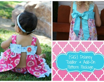 INSTANT DOWNLOAD SIG Delaney Dress/TopToddler Pattern & Add-On Pattern - Corset, Big Bow, Button, Closed Back, Ruffles Newborn to 8 Youth
