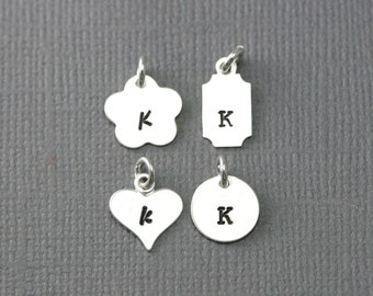 Sterling Silver Initial Charm - Add On Initial Charm - Silver Initial Charm - Silver Heart Charm - Silver Circle Charm - Silver Flower Charm