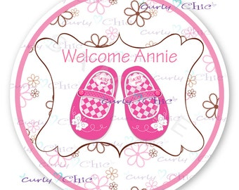 Baby Shower Stickers -Baby Girl Shower Labels -Baby Girl Shoes Labels -Personalized New Baby Stickers -Custom Baby Girl Labels -Paper Labels